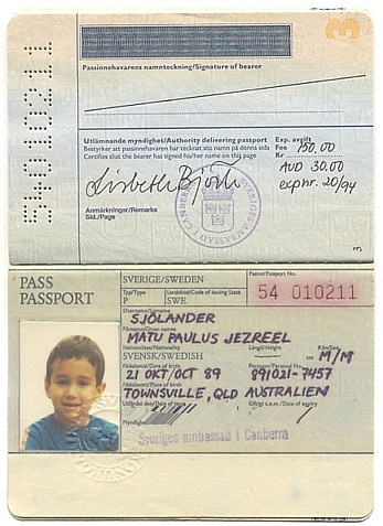 SWEDISH PASSPORT FOR MATU KUNG AF PAULUS JEZREEL SJOLANDER