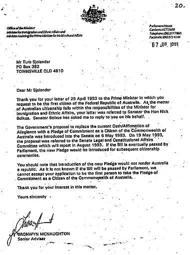 CLICK ON THIS LETTER: Paul Keating 1992